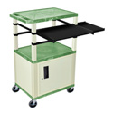 Green/Putty 42-Inch Tuffy Cabinet Cart w/Keyboard Shelf/Side Shelf/Electric