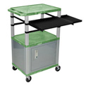 Green/Nickel 42-Inch Tuffy Cabinet Cart w/Keyboard Shelf/Side Shelf/Electric