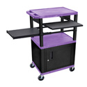 Purple/Black 42-Inch Tuffy Cabinet Cart w/Keyboard Shelf/Side Shelf/Electric