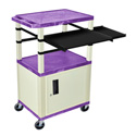 Purple/Putty 42-Inch Tuffy Cabinet Cart w/Keyboard Shelf/Side Shelf/Electric