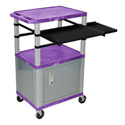 Purple/Nickel 42-Inch Tuffy Cabinet Cart w/Keyboard Shelf/Side Shelf/Electric