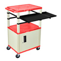 Red/Putty 42-Inch Tuffy Cabinet Cart w/Keyboard Shelf/Side Shelf/Electric