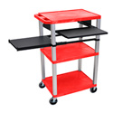 Red 42-Inch Tuffy Cart - Nickel Legs with Keyboard & Side Shelf Plus Electric