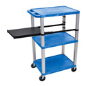 Blue 42-Inch Tuffy Cart - Nickel Legs with Side Shelf & Electric