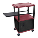 Burgundy 42-Inch Tuffy Cart - Black Cabinet & Legs with Side Shelf & Electric