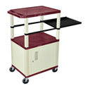 Burgundy 42-Inch Tuffy Cart - Putty Cabinet & Legs with Side Shelf & Electric