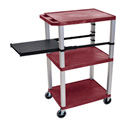 Burgundy 42-Inch Tuffy Cart - Nickel Legs with Side Shelf & Electric