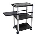 Black 42-Inch Tuffy Cart - Nickel Legs with Side Shelf & Electric
