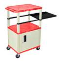 Red 42-Inch Tuffy Cabinet Cart - Putty Legs w/Side Shelf & Electric