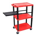 RED 42-Inch Tuffy Cart - Black Legs with Side Shelf & Electric