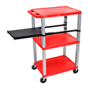 RED 42-Inch Tuffy Cart - Nickel Legs with Side Shelf & Electric