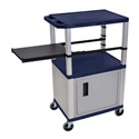 Topaz Blue 42-Inch Tuffy Cabinet Cart - Nickel Legs w/Side Shelf & Electric