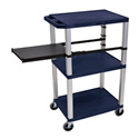 Topaz Blue 42-Inch Tuffy Cart - Nickel Legs with Side Shelf & Electric