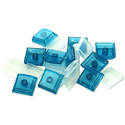 X-keys XK-A-004BL-R Blue Keycap - 10 Keycap Bases and 10 Clear Cover Lenses