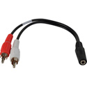 Y-MFS-2P Stereo 3.5mm Mini Female to 2 RCA Male Y-Cable 6 Inch