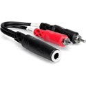 TecNec Y-SPFS-2P Stereo 1/4 In. Female to Dual RCA Male Y-Cable 6 In.