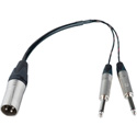 XLR Male to Dual 1/4 Inch Mono Male Y-Cable 12 Inch