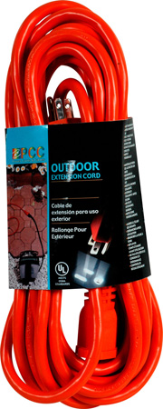 13A-125V-1625W Outdoor Extension Cord (15 Ft.) Black