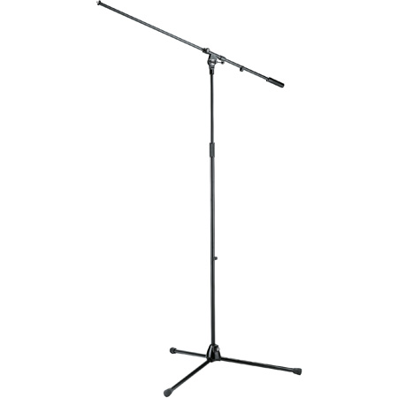 K&M 21021 44-Inch to 80-Inch High Adjustable Overhead Microphone Stand & Boom Arm - Black