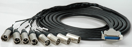 Sescom Built Mogami Digital 25Pin Dsub Male to 8 XLR Male Audio Cable with 24 inch Fanouts - Yamaha - 15 Foot