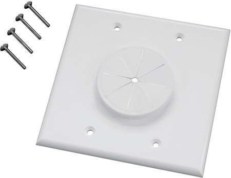 Midlite 2GIV-GR2 2 GANG Wireport Wall Plate with Grommet- Ivory