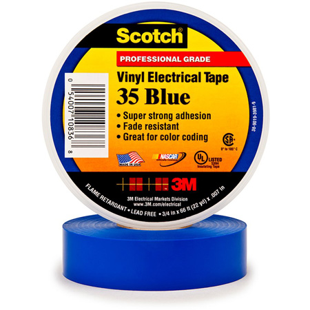 3M Scotch 35 Color Coding Electrical Tape 1/2 Inch x 20 Feet Blue