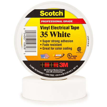 3M Scotch 35 Color Coding Electrical Tape 1/2 Inch x 20 Feet White