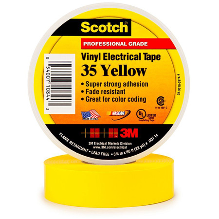 Scotch 35 Color Coding Electrical Tape 1/2 Inch x 20 Feet Yellow