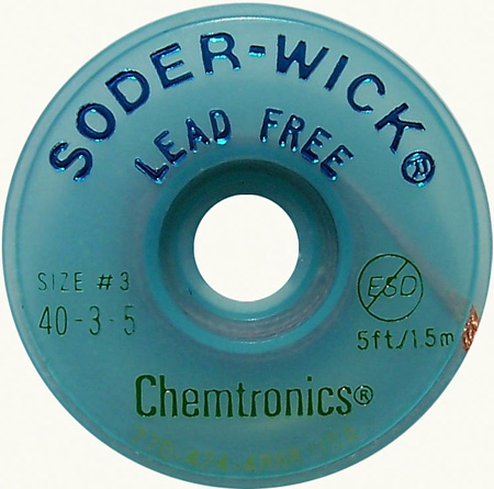Lead-Free Solder-Wick Desoldering Braid - Size No.3 0.080In x 5Ft
