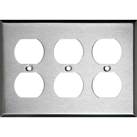 3-Gang Triple Duplex Stainless Steel Wall Plate