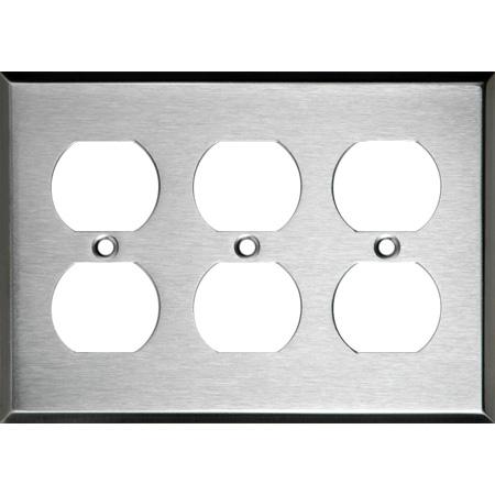 3-Gang Triple Duplex Stainless Steel Wall Plate