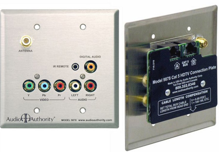 Audio Authority 9878 Dual Cat 5 Stainless Wallplate Receiver