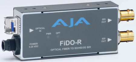 AJA FiDO-R Single Channel Fiber to SDI Converter with Dual SDI Outputs