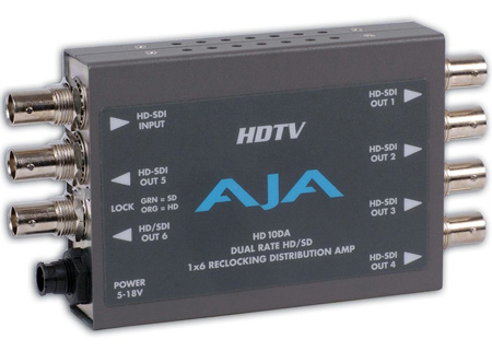 AJA HD10DA 1x6 HD/SD Dual Rate Reclocking Distribution Amplifier