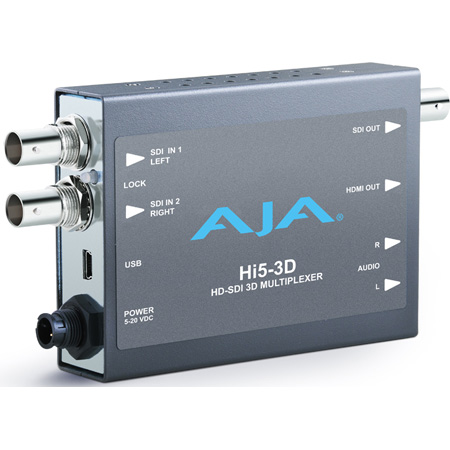 AJA Hi5-3D 3G/HD-SDI Multiplexer To HDMI 1.4a and SDI Video and Audio Converter