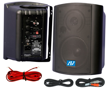 Amplivox S1232 Powered Wall Mount Stereo Speakers