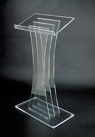 Amplivox SN3065 Clear Lucite Floor Lectern 3 Pane Contemporary Style