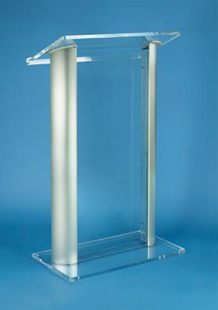 Amplivox SN3080 2 Post Comtemporary Clear Acrylic and Aluminum Floor Lectern