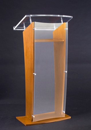 Amplivox SN3500-MO Medium Oak & Clear Acrylic Panel Floor Lectern with Shelf