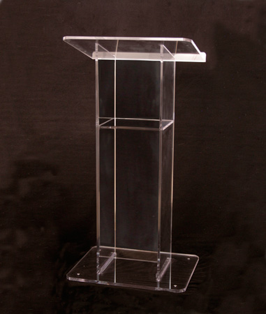 Amplivox SN354000  Clear Acrylic Floor Lectern H Style with Shelf