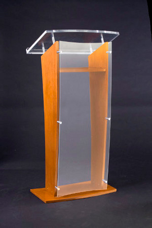 Amplivox SN3550-MO Smoke Acrylic & Medium Oak Panel & Base Lectern V w/Shelf