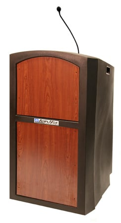 Amplivox ST3250-MO Pinnacle Sound Ready Full Height Lectern w/ Medium Oak Panel