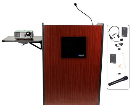 Amplivox SW3235-WT Lectern/Wireless/Deluxe Multimedia/Walnut