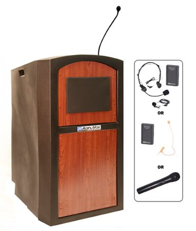 Amplivox SW3250-MH Pinnacle Wireless Sound Full Height Lectern w/ Mahogany Panel