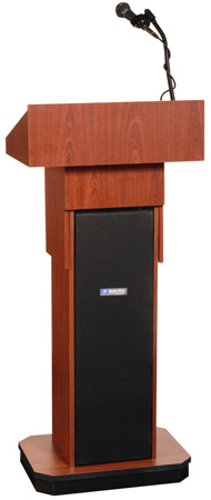 Amplivox SW505A-LO Executive Adjustable Column Lectern - Wireless Sound- Light Oak