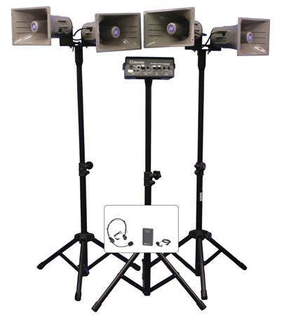 Amplivox SW660 Wireless Quad Horn Half-Mile Hailer Kit