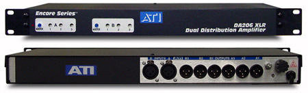 ATI DA206 Dual 1X3 Distribution Amplifier with Plus-22dBm XLR I/O