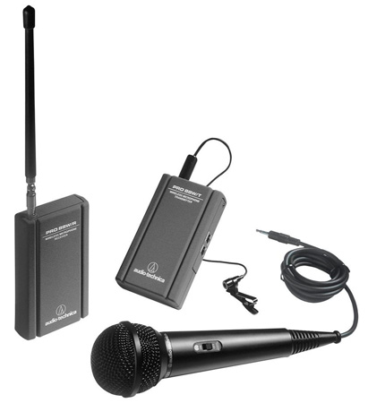 Audio Technica ATR288W VHF TwinMic System - Battery-Powered Receiver-Transmitter