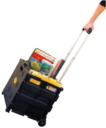 Easy Crate Rolling Foldable Plastic Crate With Telescopic Handle and 3in Wheels