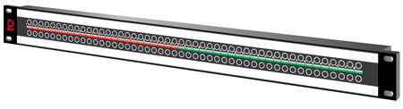 48-Point 2RU 3GHz MicroSize Dual Jack HD Patchbay with Cable Bar Non-Normaled